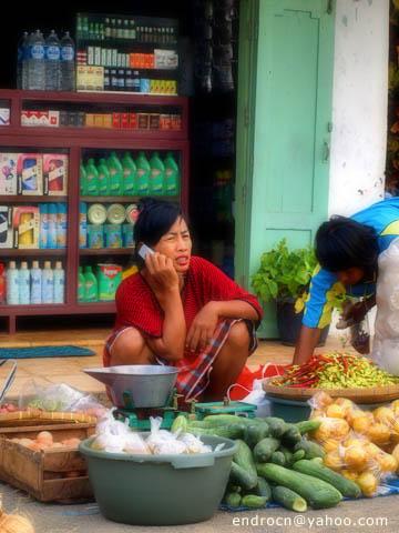 Penjual sayur ber-handphone di Pulau Karimun